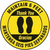 Bilingual Floor Safety Signs - Maintain 6 Feet - Yellow