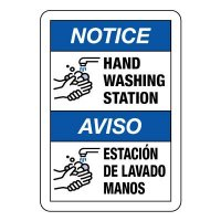 Bilingual Hand Washing Station Sign