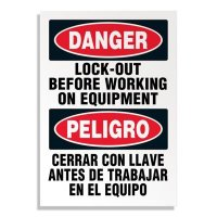 Danger Lockout Before Working on Equipment Labels - English/Spanish