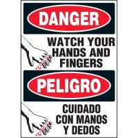 Bilingual Hazard Labels - Danger Watch Your Hands And Fingers
