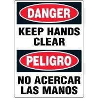 Bilingual Hazard Labels - Danger Peligro Keep Hands Clear