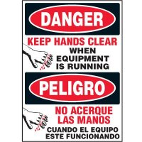 Bilingual Hazard Labels - Danger Keep Hands Clear When Equipment Is Running