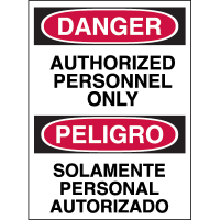 Bilingual Hazard Warning Labels - Danger Authorized Personnel Only