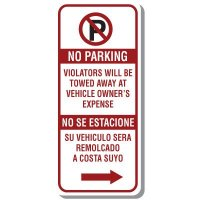 Bilingual No Parking Sign with Symbol & Right Arrow