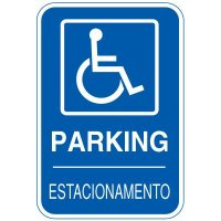 Bilingual Handicapped Parking Sign