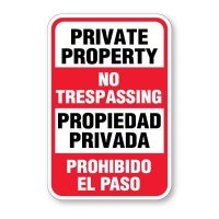 Bilingual Private Property No Trespassing Signs