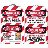 Bilingual Self-Laminating Photo Padlock Tags - Danger Do Not Operate