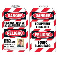Bilingual Self-Laminating Photo Padlock Tags - Danger Equipment Lock-Out