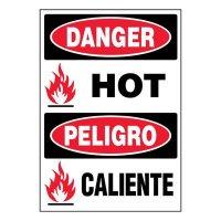 Bilingual Super-Stik Signs - Danger Hot