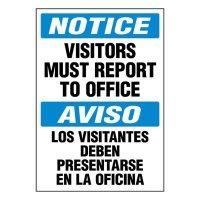 Bilingual Super-Stik Signs - Notice Visitors Must Report