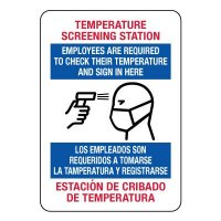 Bilingual Temperature Screening Station Sign
