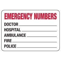 Emergency Numbers Biohazard Sign