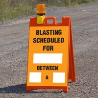 Blasting Barricade Sign Stands - Blasting Scheduled For ___