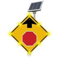 Blinker Sign® Solar Powered Flashing LED Stop Ahead Sign