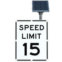 BlinkerSign® Solar Powered Flashing LED Signs - SPEED LIMIT 15