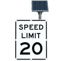 BlinkerSign® Solar Powered Flashing LED Signs - SPEED LIMIT 20