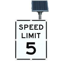 BlinkerSign® Solar Powered Flashing LED Signs - SPEED LIMIT 5