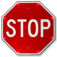 "STOP - 24"" x 24"" Aluminum 110V LED Flashing Traffic Control Sign"