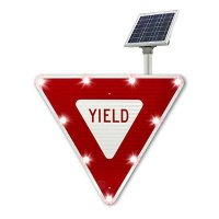 Solar Powered LED Blinking YIELD MUTCD Compliant Traffic Sign