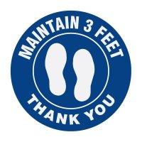 Floor Markers - Maintain 3 Feet - Blue
