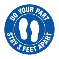 Floor Markers - Stay 3 Feet Apart - Blue