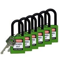 """Brady Nylon Shackle 1.5"""" Safety Locks - Keyed Alike"""