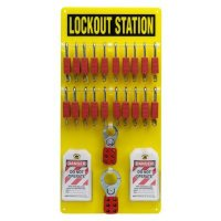 Brady Steel Lockout Station - Filled with 48 Components including 20 Non Conductive Safety Locks