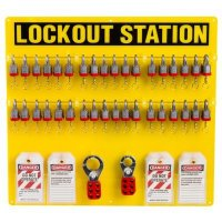 Brady Steel Lockout Station - Filled with 78 Components including 36 Rugged Steel Safety Locks