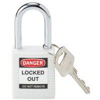 "Brady143123 White Lightweight Safety Padlock Keyed Different - 1.5"" Shackle"