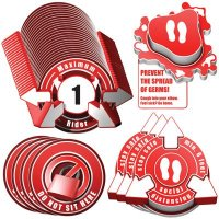 3D Social Distancing Label Kit for Bus Seats - Red