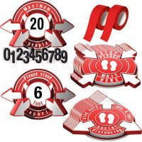 3D Social Distancing Label Kit for Cafeterias - Red