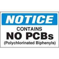 Chemical Hazard Labels - NOTICE Contains No PCBs