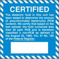 Chemical Hazard Labels - Certified Non-PCB