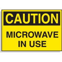 Caution Microwave In Use - Hazard Warning Labels