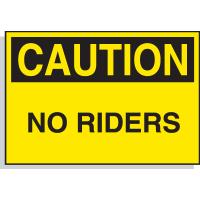 Caution No Riders - Hazard Warning Labels