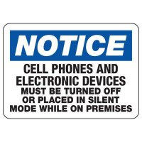 Notice Cell Phones Off  Sign