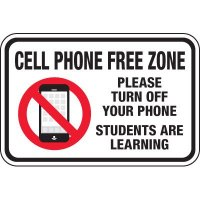 Cell Phone Free Zone Students Learning Signs