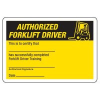 Certification Photo Wallet Cards - Authorized Forklift Driver