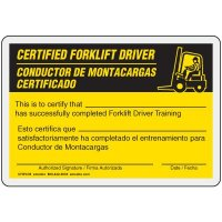 Bilingual Certified Forklift Driver Card