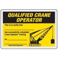 Qualified Crane Operator Card