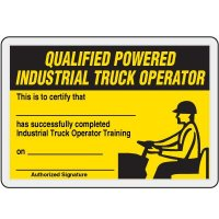 Qualified Powered Industrial Truck Operator Card