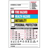 Chemical Hazard Warning Labels- NFPA Color Bar Format