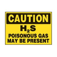 Chemical Safety Labels - Caution H2S Poisonous Gas