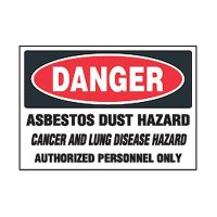 Chemical Safety Labels - Danger Asbestos Dust Hazard