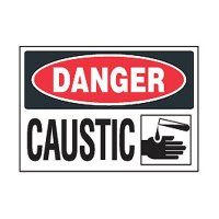 Chemical Safety Labels - Danger Caustic (With Graphic)