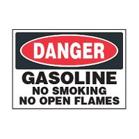 Chemical Safety Labels - Danger Gasoline No Smoking