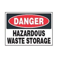 Chemical Safety Labels - Danger Hazardous Waste Storage