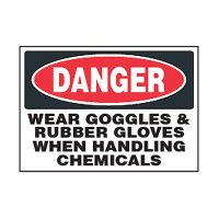 Chemical Safety Labels - Danger Wear Goggles, Rubber Gloves