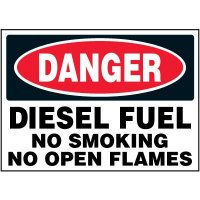 Chemical Labels - Danger Diesel Fuel No Smoking No Open Flames