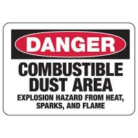 Chemical Warning Signs - Danger Combustible Area